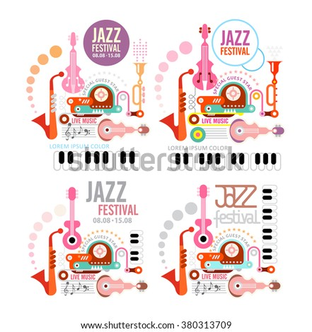 Four variants of jazz festival vector poster. Art composition of musical instruments. Isolated on white background. - stock vector