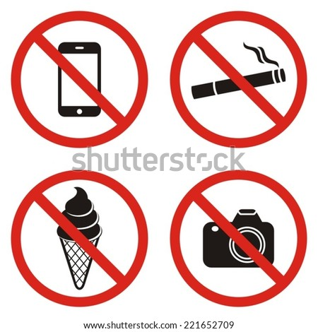 Four vector black and red circle prohibited signs - stock vector