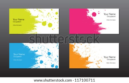 Four vector business cards template with hand painted brush strokes backgrounds with splatters - stock vector