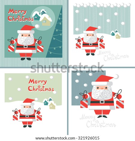 four vector greeting card with Santa Claus - stock vector