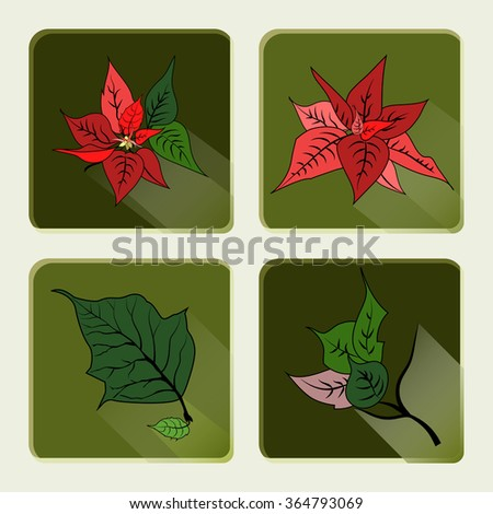 Four vector icons with elements of the flower red poinsettia (Bethlehem Star). Separate leaves, flowers, bracts, branch. Added shadows. EPS 10. - stock vector