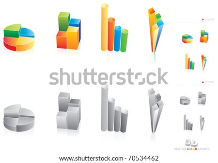 Four vector illustration of color charts - stock vector