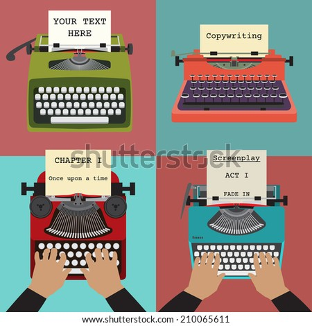 Four vector illustrations of retro typewriters. Concepts of writing, copywriting, screenwriting etc - stock vector