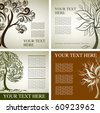Four vector samples of design with decorative tree from colorful autumn leafs and place for text. Thanksgiving - stock