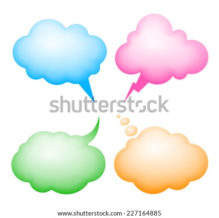 Four vector speech bubbles. Eps8. RGB. Global colors. Gradients used. - stock vector