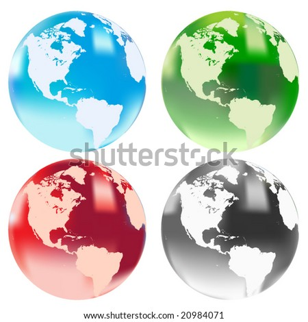 Four vector translucent globes - stock vector