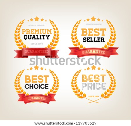 "Four vector vintage badges collection ""Best choice"", ""Premium quality"", ""Bestseller"", ""Best price"" - stock vector"