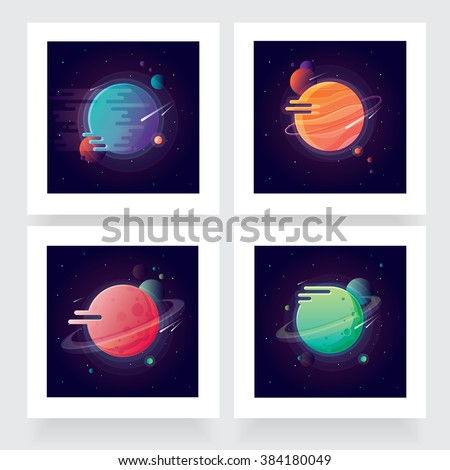 Four vibrant colorful planets with stars and speeding comets. Outer space conceptual icons in modern flat design style - stock vector