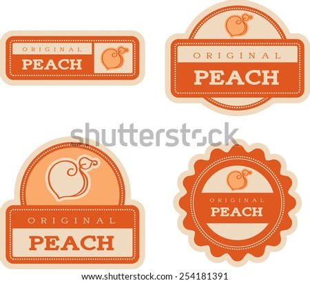 Four vintage food label designs with a peach theme and illustration. - stock vector
