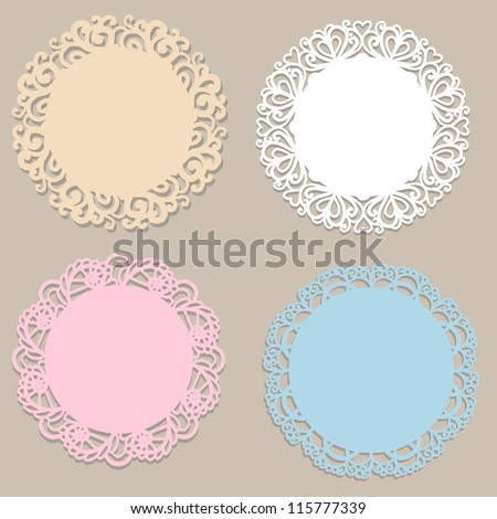 Four vintage round frames - stock vector