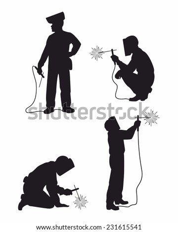 Four welders set silhouettes - stock vector