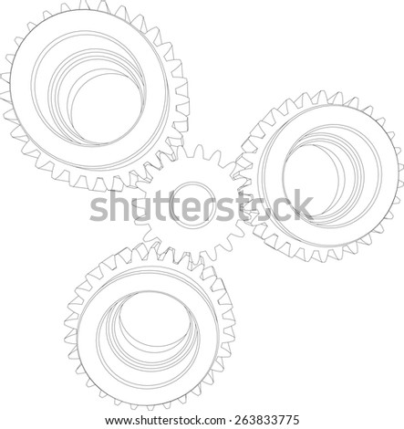 Four wire-frame gears. Front view. Vector illustration rendering of 3d - stock vector