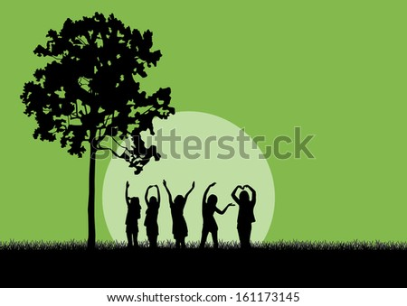 Four women standing on hill near bare tree, hands up,green background