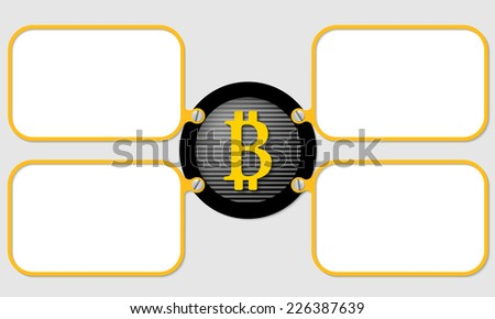 four yellow frame for text with bit coin symbol
