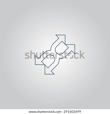 Fourfold Arrow. Flat web icon or sign isolated on grey background. Collection modern trend concept design style vector illustration symbol - stock vector