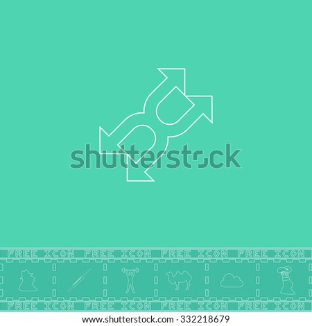 Fourfold Arrow. White outline flat symbol and bonus icon. Simple vector illustration pictogram on green background