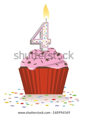 fourth birthday cupcake with lit candle in shape of number four - stock vector