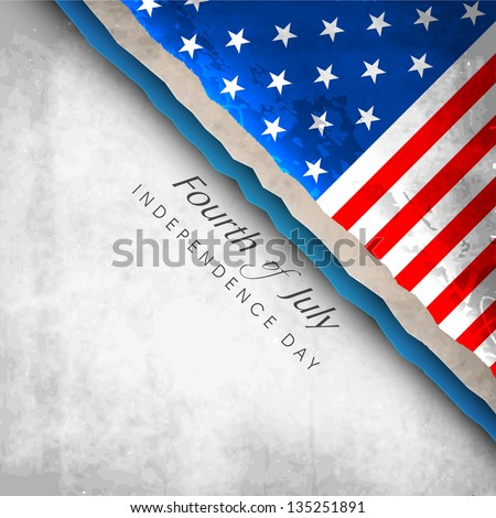 Fourth Of July American Independence Day concept with Flag on grey background. - stock vector