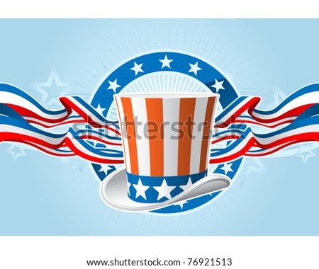 Fourth of july emblem with Uncle Sam top hat and ribbons - stock vector
