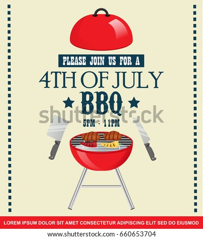 4th of july menu template - fourth july independence day barbecue invitation stock