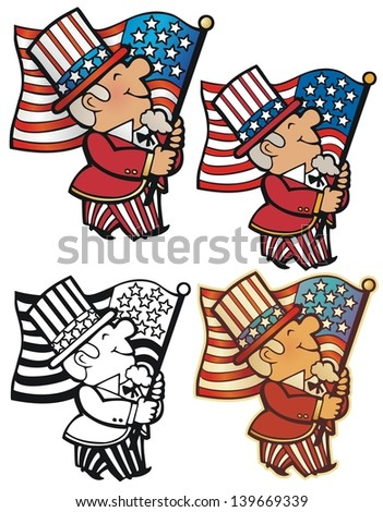 Fourth of July Motif, with non-gradient, black outline, and antique look variations - stock vector