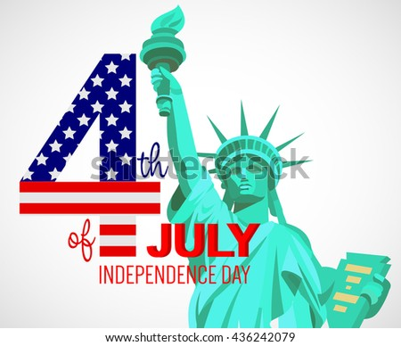 Fourth of July poster. Independence Day USA. Fourth of July card with American flag