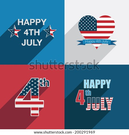 fourth of july usa holiday decorations in red, white and blue - stock vector