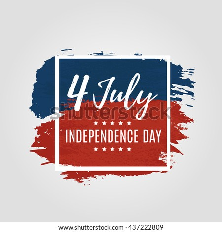 Fourth of July USA Independence Day greeting card. 4 July America celebration wallpaper. Independence national holiday US flag card design. Vector illustration. EPS 10 - stock vector