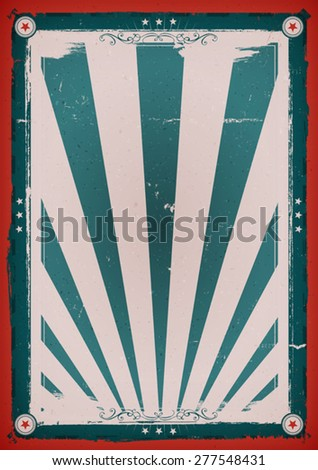 Fourth Of July Vintage Background Poster/ Illustration of a design american retro independence day holidays poster background, for american anniversary events, red and blue with sunbeams - stock vector