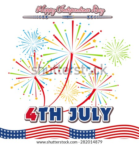 Fourth of July with firework Background - stock vector