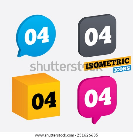 Fourth step sign. Loading process symbol. Step four. Isometric speech bubbles and cube. Rotated icons with edges. Vector - stock vector