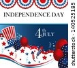 fourth the july over flag background vector illustration - stock vector