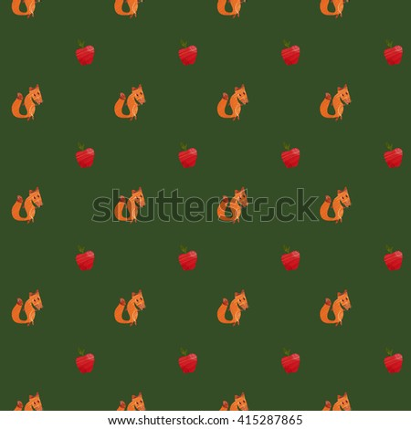 Fox and apple pattern