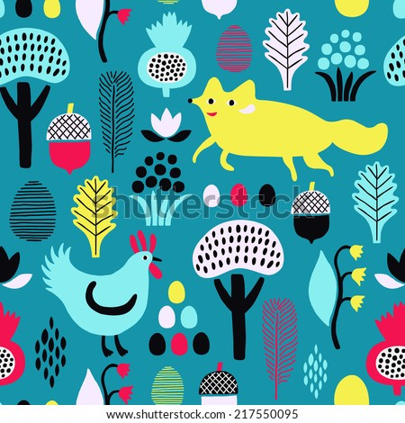 Fox and rooster seamless pattern. Vector illustration.  - stock vector