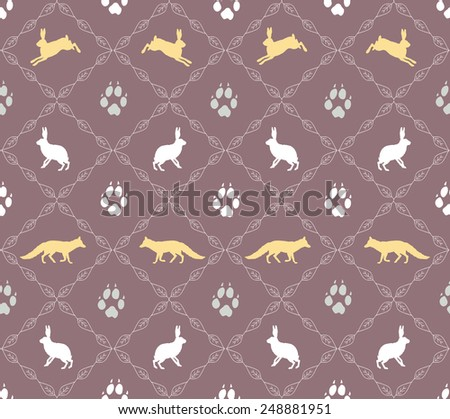 Fox, bunny rabbit and steps silhouette elegant rhomboidal seamless vector pattern - stock vector