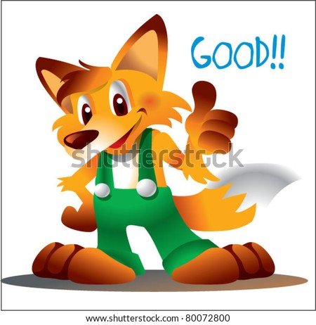 fox character thumbs up - stock vector