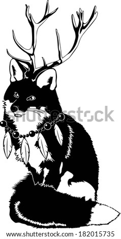 Fox Forest Spirit with Feather Necklace and Antlers Vector - stock vector