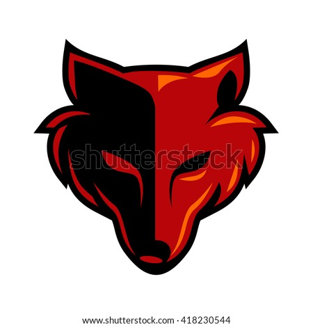 fox head wolf head logo stock vector 2018 418230544 shutterstock rh shutterstock com blue wolf head logo wolf head coloring pictures