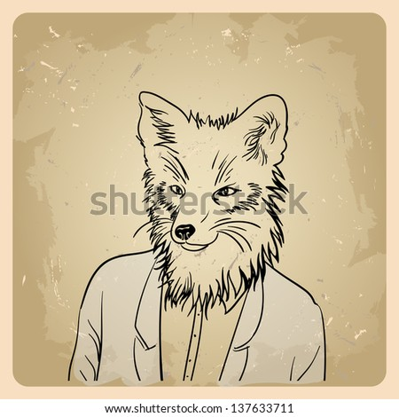 fox hipster in a jacket on the vintage background - stock vector