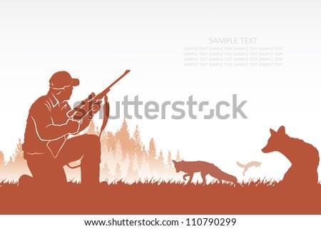 Fox hunter - vector background - stock vector