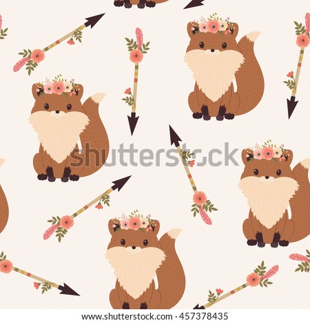 Fox in a floral wreath with floral tribal arrows. Vector seamless pattern. Tribal, ethnic or Native American themed wallpaper