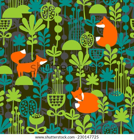 Fox in night forest seamless pattern. Vector illustration.  - stock vector