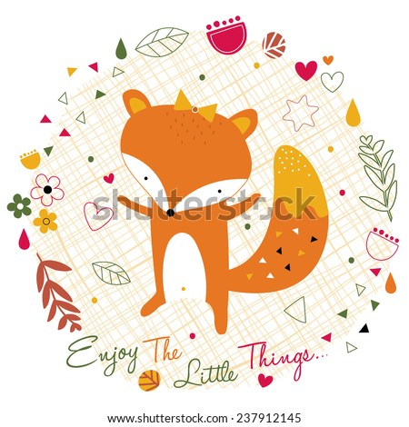 fox in the jungle illustration - stock vector