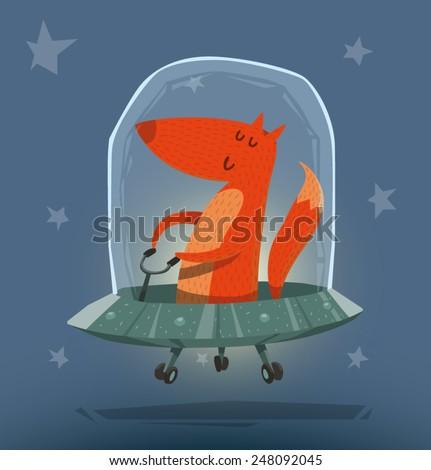Fox in Ufo, vector - stock vector