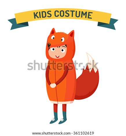 Fox kid costume isolated vector illustration. Kids party costume vector isolated. Children party costume. Kids costume - stock vector