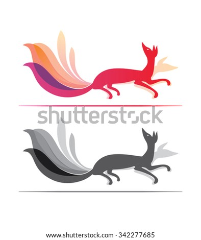 Fox motion - design template. Red and monochrome versions. - stock vector