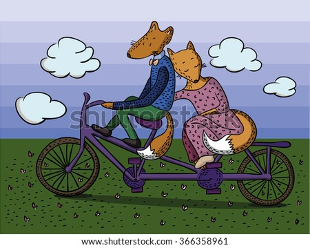 Fox on bike. tandem. married couple. walk in park