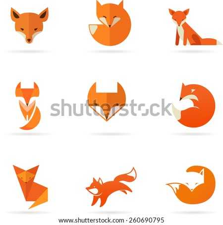 Fox signs, illustrations and elements. collection of vector icons - stock vector