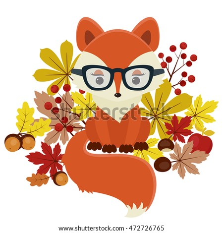 Fox surrounded by fall leaves, chestnuts, acorns and berries. Isolated over white. Beautiful autumn/fall vector illustration. Eps 10