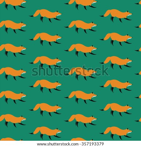 fox vector art background design for fabric and decor. Seamless pattern